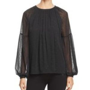 Michael Kors Metallic Dot Peasant Blouse